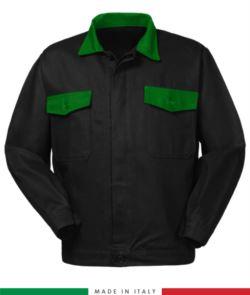 Zweifarbige Arbeitsjacke, Made in Italy. Zwei Brusttaschen. Möglichkeit der Anpassung. Farbe schwarz/hellgruen