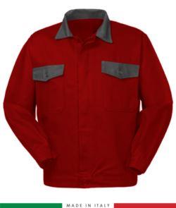 Zweifarbige Arbeitsjacke, Made in Italy. Zwei Brusttaschen. Möglichkeit der Anpassung. Farbe rot/grau