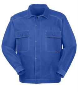 Abnehmbare Arbeitsjacke aus Baumwolle mit Taschen. Farbe Koenigsblau