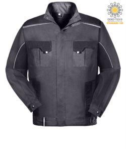 Zweifarbige Mehrtaschen Arbeitsjacke mit reflektierender Paspel an Schultern und Aermeln. Farbe grau/schwarz