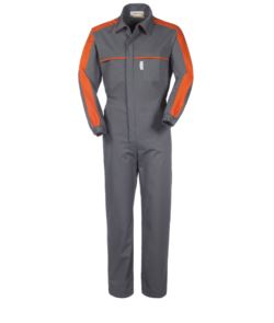 Mehrtaschen-Bekleidung mit kontrastierenden Details an Schultern und Brust, elastische Manschetten, Hemdkragen, Farbe grau und orange