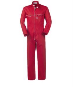 Durchgehende Arbeitskleidung aus 100% Baumwolle mit Reissverschluss und koreanischem Kragen. Mausschwanz auf der Brust, zwei Brusttaschen, Farbe: rot