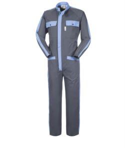 Mehrtaschen-Arbeitskleidung mit kontrastierenden Details, koreanischem Kragen, elastischen Handgelenken, Farbe grau und hellblau