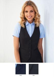 Damenweste mit 5 Knopfverschluessen und zwei Taschen. Erhaeltliche Farben: Schwarz und Marineblau. 100% Polyester.