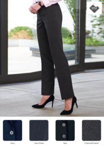 Elegante Damenhose aus Polyester, Viskose und Elasthan, schmutzabweisendes Teflongewebe.  Ideal fuer Empfangspersonal, Hostessen, Hoteliers.