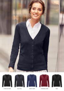Damen-V-Ausschnitt-Strickjacke, klassischer Schnitt, gerippte Hals und Aermelbundchen, zentrale Oeffnung, Baumwolle und Acrylgewebe