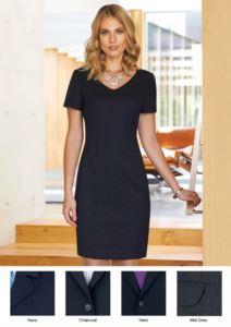 Kleid fuer den professionellen Gebrauch (z.B.: Promoter, Empfangsdame, Hotellerie) mit schmutzabweisendem Polyester- und Wollgewebe.
