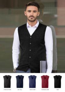 Unisex V-Ausschnitt-Strickjacke, klassischer Schnitt, Baumwolle und Acrylgewebe. Großhandel mit eleganten Arbeitsuniformen.