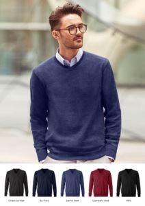 Herren V-Ausschnitt Pullover mit langen Aermeln, gerippter Hals und Aermelbuendchen, nahtlos, Baumwolle und Acrylgewebe