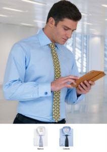 Klassisch geschnittenes Hemd in den Farben Weiss und Hellblau erhaeltlich. Polyester und Baumwollgewebe, leicht zu buegeln.