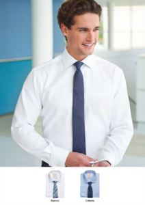 Herrenhemd in klassischem Schnitt, 100% superfeiner Baumwollstoff. Linke Brusttasche und einzelne Manschette fuer Manschettenknöpfe. Ideal fuer Traeger-, Hotel- und Rezeptionistenuniformen
