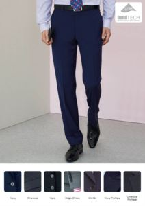 Elegant tailored men trousers, two welt pockets, wool, polyester and lycra fabric with stain resistant treatment. Contact us for a free quote.