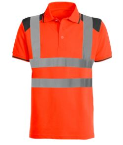 Zweifariges gut sichtbares Poloshirt mit reflektierenden Baendern, kontrastreichen Details an Shultern, Kragen und unterm Aerml. Zertifiziert nach EN 20471. Farbe Orange