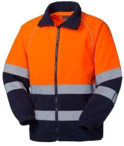 Warnschutz-Fleece mit doppeltem Reflexband an der Taille, Verschluss mit Schleier, zertifiziert nach EN 20471. Farbe orange/Blau