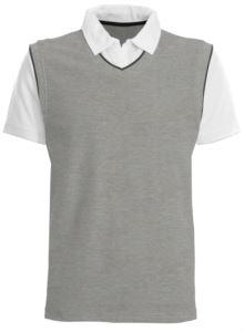 Kurzarm Polo mit kontrastfarbenem Kragen und Aermeln, kontrastfarbene Paspel. Farbe Grau Melange/Weiss