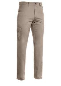 Leichte Multi-Pocket-Hose, gefuettert mit gestreiftem Stoff. Farbe Taubengrau