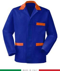 blaue, in Italien hergestellte Arbeitsjacke, 100% Baumwolle Massaua und zwei Taschen, farbe koengsblau/orange
