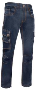 Arbeitshose in Stretchjeans mit mehreren Taschen, Farbe blau