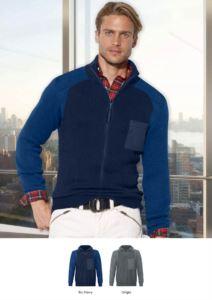 Herren Hochhalspullover, langer Reissverschluss, Schulter und Ellbogenpatches, zwei Huefttaschen, 100% Acrylgewebe