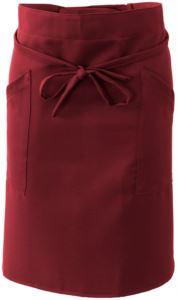 Kochschuerze mit Doppeltasche, an der Taille mit einer Spitze verschlossen. Farbe: burgunderrot