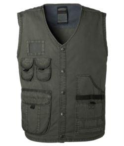 Sommer Arbeitsweste Multi Taschen dunkelgruen Farbe 100% Baumwolle