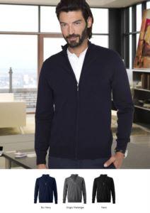 Unisex Vollreissverschluss Pullover, Ellbogenpatches, Rippen an den Unterkanten und Manschetten, Baumwoll und Wollgewebe
