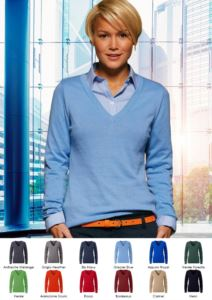 Damen V-Ausschnitt aermelloser Pullover mit elastischem Ripp-Ausschnitt und Manschetten, 100% Baumwollstrickware. Farbe anthrazit melange