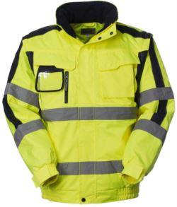 Warnschutz Pilotjacke mit abnehmbaren Aermeln, Badge-Halterung, verdeckte Kapuze, Doppelband an Aermeln und Taille, zertifiziert nach EN 343, EN 20471. Farbe gelb