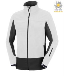 Zweifarbige, wasserdichte Softshell Jacke mit verdeckter Kapuze.Farbe: weiss und schwarz