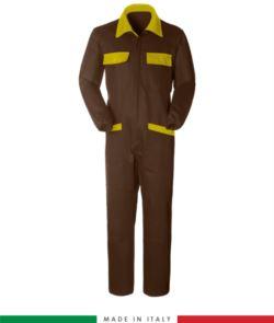 Zweifarbiger Overall, Hemdkragen,mittig verdeckter Reissverschluss, elastische Taille. Moeglichkeit der personalisierten Produktion. Hergestellt in Italien. Farbe braun/gelb