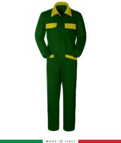 Zweifarbiger Overall, Hemdkragen,mittig verdeckter Reissverschluss, elastische Taille. Moeglichkeit der personalisierten Produktion. Hergestellt in Italien. Farbe gruen Flasche/gelb
